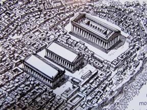 Tempio E, Tempio F e TEMPIO G il primo a destra. Ricostruzione Selinunte