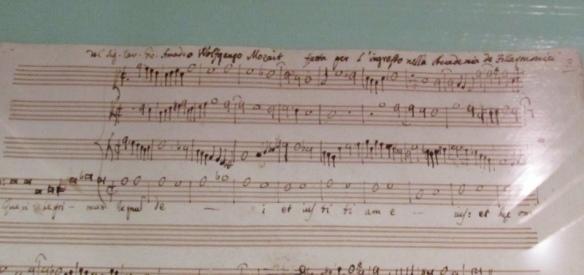 Compito di Mozart con appunto di Padre Martini.